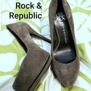 Rock & Republic Grey Suede Platform Heels, 36/6